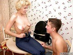 Horny grandma seducing guybr