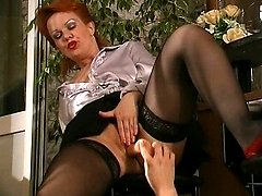 Redhead milf massaging young cock with her tongue before doggystyle frenzy