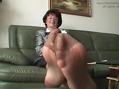 Aunty's smelly nylon feet in my face!