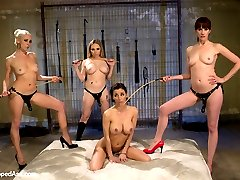 Gia Dimarco arrives to the Armory thinking she is going to shoot Divine Bitches with three of her fellow dominatrix yet we have another plan for her! After the opening interview with the male sub Gia ventures off to the bathroom where Maitresse Madeline, Aiden Starr and Lorelei Lee take her down right from the bathroom stall! Gia has been domming for  two years now and had to be reminded of where she came from. The dommes spray her down and attempt to wash the whore from her and gets spanked hard but Gia just squirts all over! She\'s bound spread and takes single tail lashings, cat o\' nine tails and flogging all at the same time! She\'s suspended and ass plugged, strap-on fucked and fisted. Finally, Gia, completely broke down begs for three canes at once while strap-on ass fucked! This is one Whipped Ass update you do not want to miss!