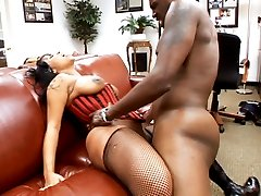 Black bitch Tia Cherry gets banged by Lex Steeles throbbing black cock