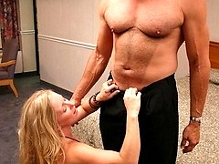 Blonde milf Zia fondles her tits while having her pretty face cumhosed
