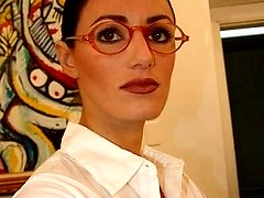 Hot secretary gets cum on her glasses