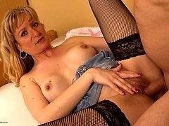Horny blonde housewife sucking and fucking