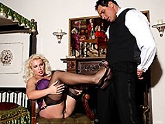 Sexy mistress Leggy Lana covers her butlers cock with her sexy nylons, then enjoys the creamy...