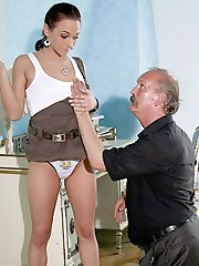 Girlfriend tricked and seduced into riding the stiff dick of her bfs father