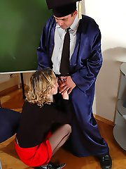 Kinky old college tutor fucks a raunchy blonde hottie senseless for smoking at his lecture