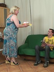 The young married man gets to fuck the granny pussy and she happens to be his mother in law