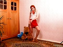 Redhead bitch fucking hard with red dildo