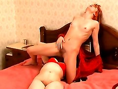 Clad in red mature chick and young girl give in to their unstoppable lust