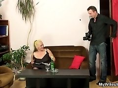 The mature pussy belongs to his mother in law and he must fuck her hard before his wife arrives