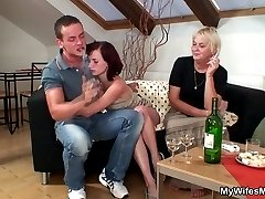 A few drinks with the young man and this tasty mother in law is horny for big cock