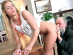 I think Chrissy Fox had no idea that this older gentleman could get his cock up and hard. Well, he showed her that he still had some life left in his tired old limp dick. He gave it to her hard and she enjoyed every moment.