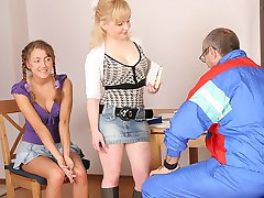 TrickyOldTeacher - Two hot coeds get naked and give mature teacher threesome and sucking