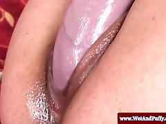 Puffy peach babe fingered and toyed