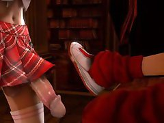 Curvy 3d babe gets double penetrated by two shemales