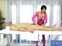 Luscious masseuse gets banged and jizzed by pervert client