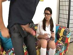 Glasses wearing teen breaks the ice by giving handjob