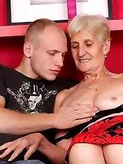 Naughty elderly pornstar Irene shows off her sagged breasts to lure a guy into lending her his...