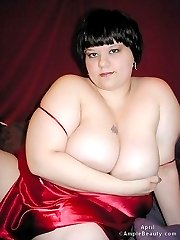 Cute fatty brunette strips totally naked