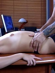 Slutty Asian secretary in black suspender tights servicing her studly boss