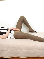 Gal in several pairs of tights getting to pantyhose sex with her girlfriend