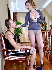 Lusty mature catches a guy with her pantyhose and makes him fuck her hard