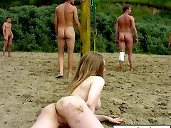 Teen beauty frolic around the nude beach