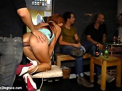 Beautiful Spanish model Bianca Resa is bound and led through the streets of Madrid to service the public. She is made into a public ashtray that even the police agree is an excellent idea. She is finally tied up and fucked in front of everyone at the local bar.