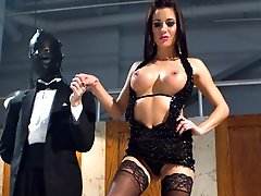 Gia Dimarco is officially inducted into Bitchdom and given slave DJ as a present for the day. A surprise guest appearance gimp assists the gorgeous Gia Dimarco while DJ surrenders to a full day of female domination. Gia starts the day off with some paddling, humiliation and trampling. Once she is good and warmed up she handcuffs her toy to a dirty urinal and strap-on fucks his ass while her gimp serves her champagne. He\'s humiliated even further by having his head flushed in the toilet after he has been brutally ass fucked. DJ holds on to a glimmer of hope that Mistress Dimarco would have a moment of sympathy for his pathetic ass however in true Bitch form Dimarco denies his cock locking it in chastity and using her gimp as a human dildo cuckolding DJ into complete submission. Gia spreads her juices over each of the slaveboys marking her territory and claiming who\'s the finest Bitch of them all!