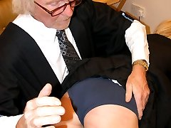 Pretty blonde school girl caned on her bare bottom plus palm strapping