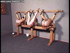 Three beautiful girls tied and tortured with their legs in the air