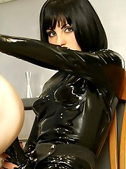 Kinky bitch in black latex catsuit plows masked fatso's ass with strap-on