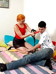Redhead chick giving great massage of guys tight ass using her strap-on
