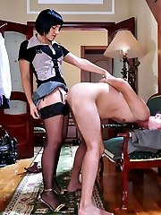 Freaky gal prepares a strapon surprise for her guy ready to loosen his bum