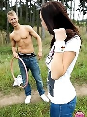 A girl and guy fuck outside