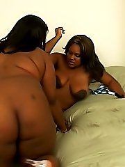 A big strapon dildo is ready to get these black BBWs off