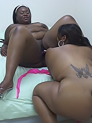 Ebony BBW dykes dive between their legs