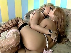 Sexy blonde lesbian Sara and her horny partner making out and rubbing their wet cooze