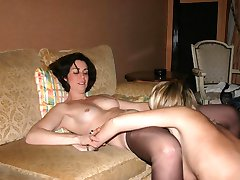 Hardcore lesbians eat each others pussies