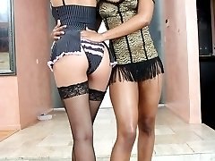Black girls with sweet bodies in hardcore lesbian action