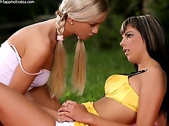 Two horny girls fuck at a picnic