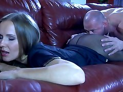 Fuckable chick lets her studly lover enjoy the feel of her sleek pantyhose