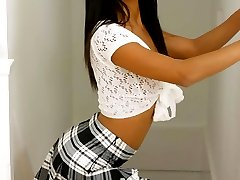 Sexy asian babe Jewel in plaid skirt and socks
