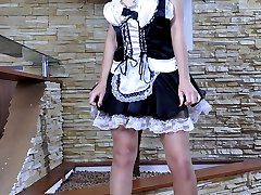 Heated French maid strips her uniform for sexy nylon tease and dildo play