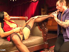 The gorgeous Yasmin Lee knows exactly what to do with the riff raff that gets sent her way. All these men bragging about pussy all just want the same thing. A huge Ts Cock to suck and fuck them backwards. Will Havoc is no different. Sent over for some special treatment from hotel divine, this smooth talker has no idea what he is getting into. Yasmin treats him to a taste of her huge cock and lets him lick her beautiful feet before fucking