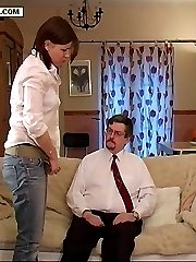 Gorgeous girl spanked in the front room on her quivering tender cheeks - bright pink buttocks