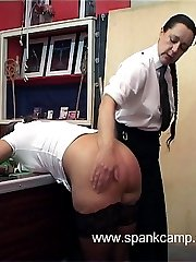 Young miss with firm ripe ass spanked to tears on the kitchen floor