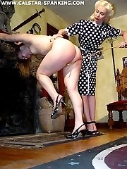 Domestic spanking with hand, paddle and cane for misbehaving girls