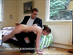 Bare bottom beatings with the brush for a naked young cutie